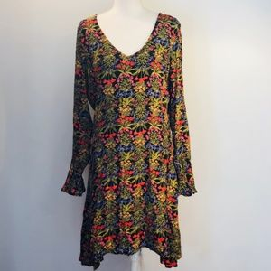 Old Navy Black Floral Long Sleeve Ruffle Dress